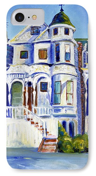 IPhone Case featuring the painting Old White Victorian In Oakland California by Asha Carolyn Young