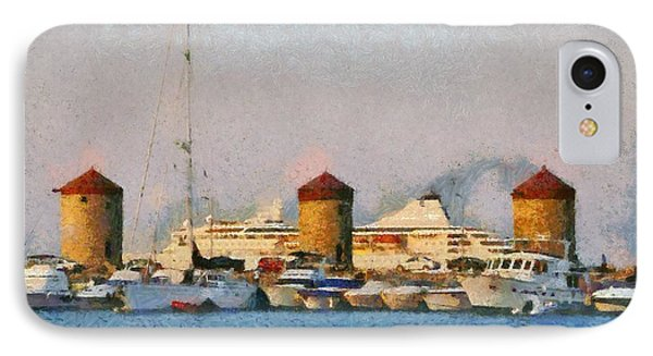 Old Windmills And Cruise Ship IPhone Case by George Atsametakis