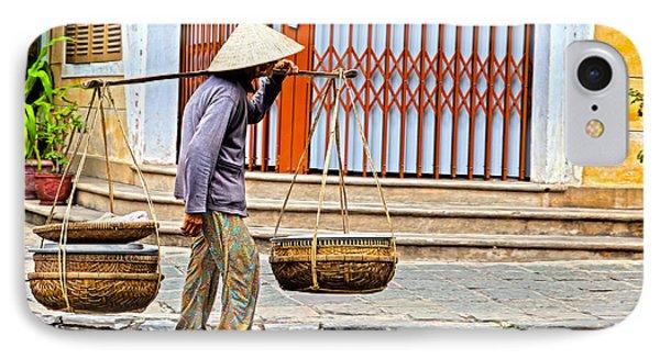 Old Woman In Hoi An Vietnam Phone Case by Fototrav Print