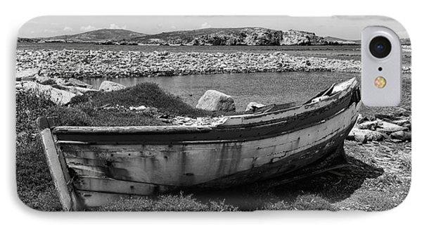 Old Wooden Boat On Delos Mono IPhone Case by John Rizzuto