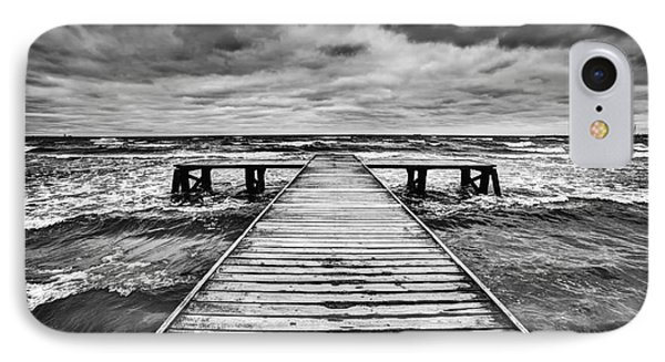 Old Wooden Jetty During Storm On The Sea IPhone Case by Michal Bednarek