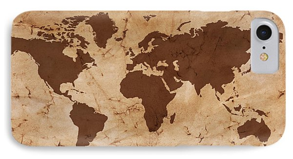 Old World Map On Creased And Stained Parchment Paper Phone Case by Richard Thomas