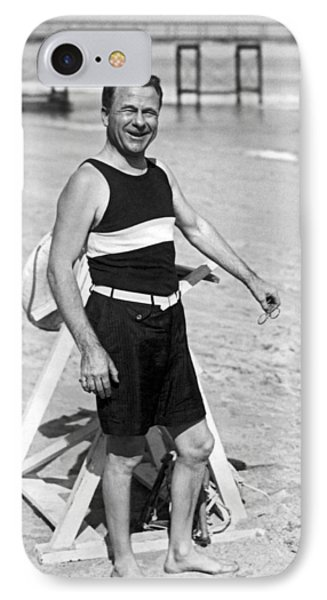 Older Man At The Beach IPhone Case by Underwood Archives