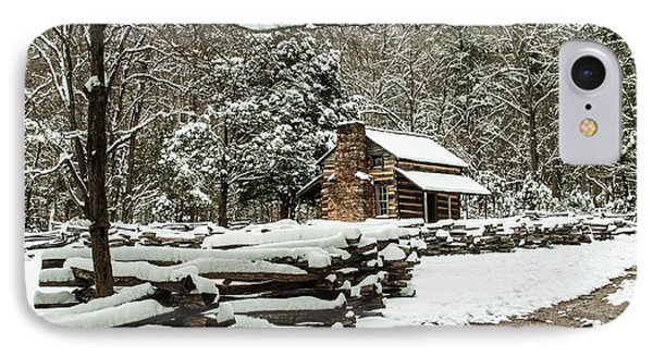 IPhone Case featuring the photograph Oliver's Log Cabin Nestled In Snow by Debbie Green