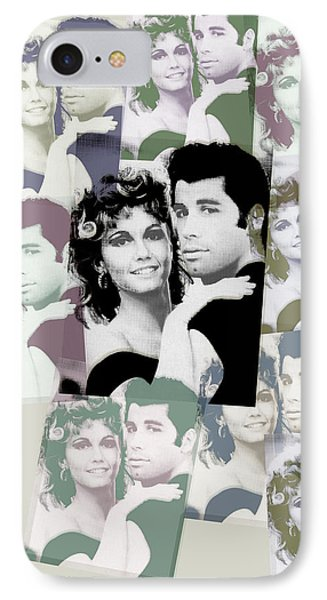 Olivia Newton John And John Travolta In Grease Collage IPhone Case by Tony Rubino