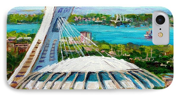 Olympic Stadium Montreal Painting Velodrome Biodome Heritage Art By City Scene Artist Carole Spandau IPhone Case by Carole Spandau