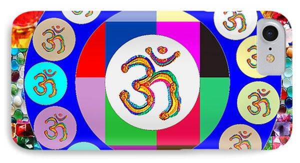 Om Mantra Dedication  Devotion Symbol Assembly By Artist N Reiki Healing Master Navinjoshi IPhone Case by Navin Joshi