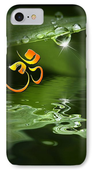 IPhone Case featuring the mixed media Om On Green With Dew Drop by Peter v Quenter