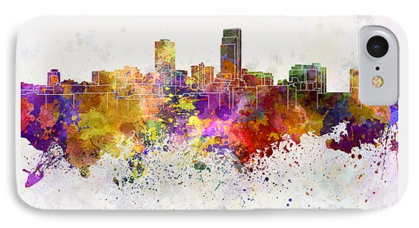 Omaha Skyline In Watercolor Background IPhone Case by Pablo Romero