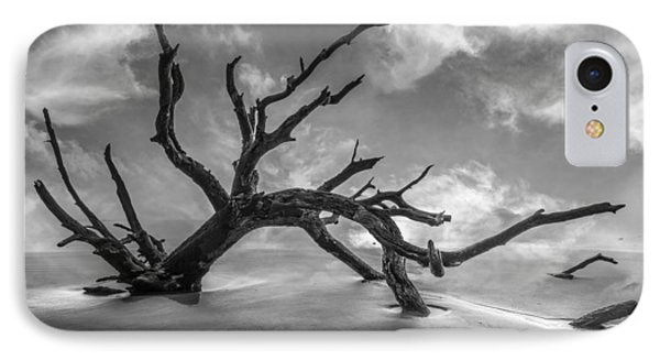 On A Misty Morning In Black And White Phone Case by Debra and Dave Vanderlaan