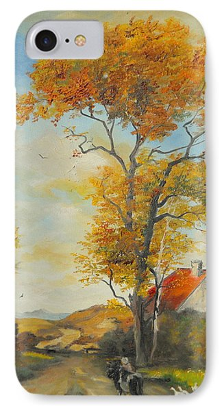 IPhone Case featuring the painting On Country Road  by Sorin Apostolescu