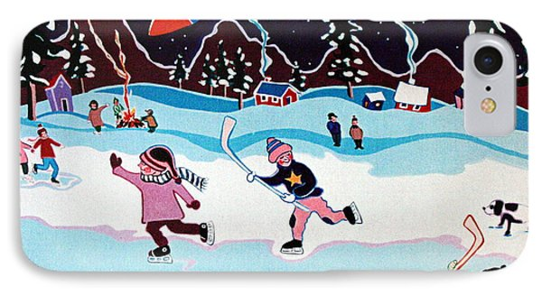 IPhone Case featuring the painting On Frozen Pond by Joyce Gebauer