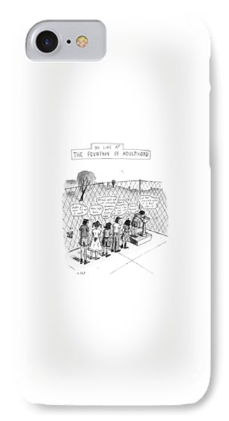 On Line At The Fountain Of Adulthood: Watch IPhone Case by Roz Chast