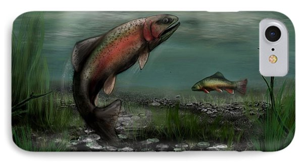 On The Attack - Rainbow Trout After A Fly IPhone Case by Ron Grafe