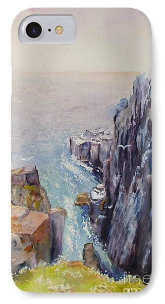 IPhone Case featuring the painting On The Edge Of The Cliff by Beatrice Cloake