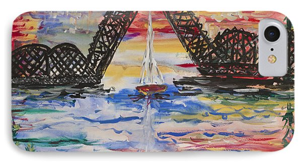 On The Hour. The Sailboat And The Steel Bridge Phone Case by Andrew J Andropolis