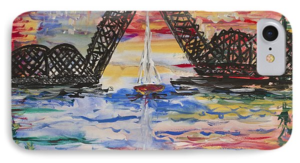 On The Hour. The Sailboat And The Steel Bridge IPhone Case