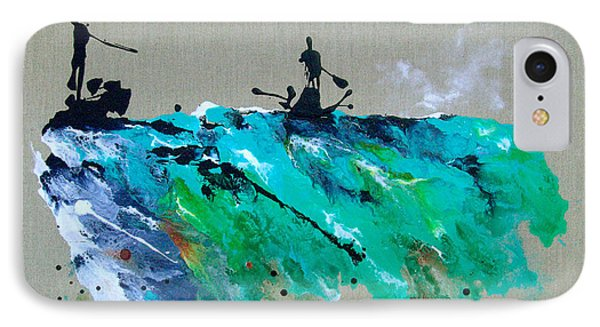 On The River Sports Art Abstract Art Phone Case by Catherine Jeltes