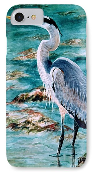 On The Rocks Great Blue Heron Phone Case by Roxanne Tobaison