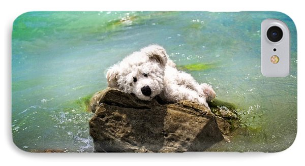On The Rocks - Teddy Bear Art By William Patrick And Sharon Cummings IPhone Case by Sharon Cummings