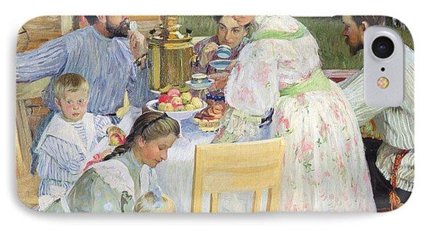 On The Terrace, 1906 Oil On Canvas IPhone Case by Boris Mikhailovich Kustodiev