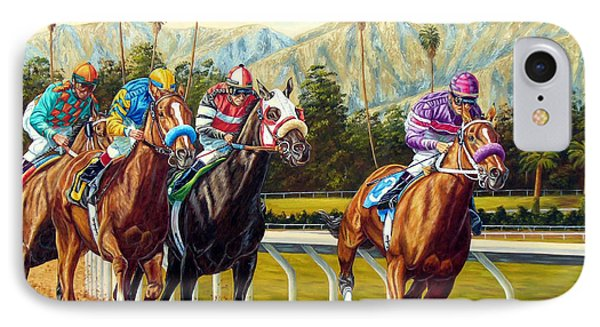 On The Turf At Santa Anita IPhone Case by Tom Chapman