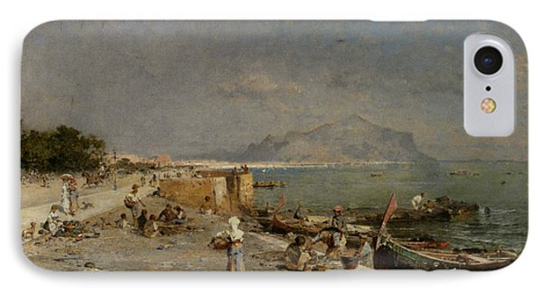 On The Waterfront At Palermo Phone Case by Franz Richard Unterberger