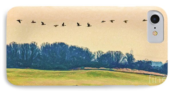 One Afternoon The Geese Came IPhone Case by Liz Leyden
