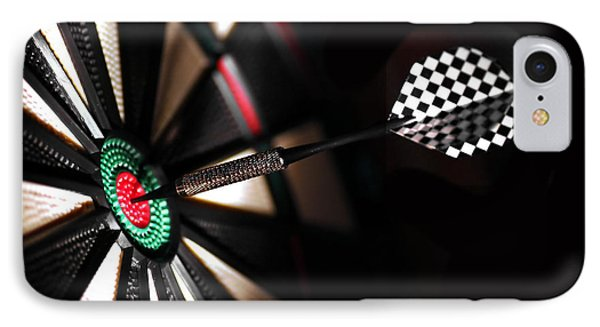 One Arrow In The Centre Of A Dart Board Phone Case by Michal Bednarek
