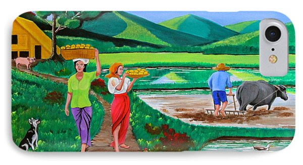 IPhone Case featuring the painting One Beautiful Morning In The Farm by Cyril Maza