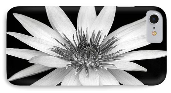 One Black And White Water Lily Phone Case by Sabrina L Ryan