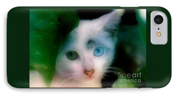 One Blue One Green Cat In New Olreans IPhone Case by Michael Hoard