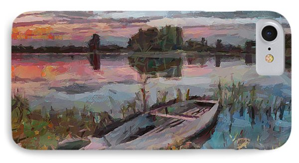 One Boat Sunset 1 IPhone Case by Yury Malkov