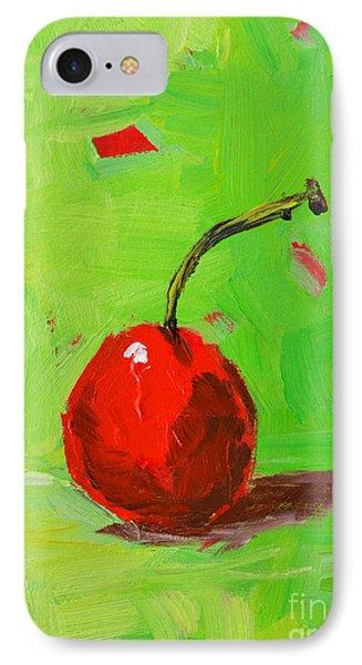 One Cherry Modern Art IPhone Case by Patricia Awapara