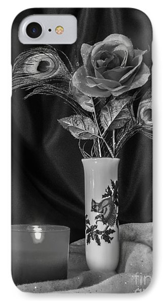 One Christmas Rose In Black And White IPhone Case