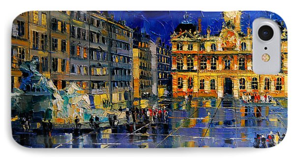 One Evening In Terreaux Square Lyon IPhone Case by Mona Edulesco