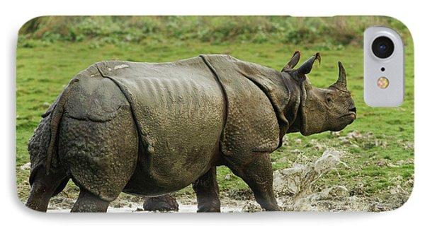 One-horned Rhinoceros, Coming IPhone Case by Jagdeep Rajput