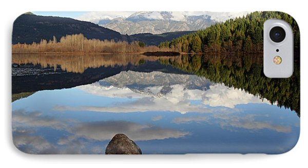 One Mile Lake One Rock Reflection Pemberton B.c Canada Phone Case by Pierre Leclerc Photography