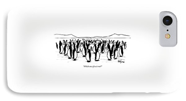 One Penguin In A Large Group Of Penguins Speaks IPhone Case by Kaamran Hafeez