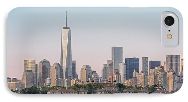 One World Trade Center And Ellis Island 2 IPhone Case by Susan Candelario