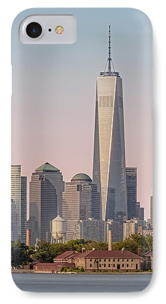 One World Trade Center And Ellis Island IPhone Case by Susan Candelario