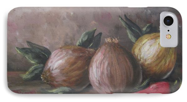 IPhone Case featuring the painting Onions And Peppers by Megan Walsh