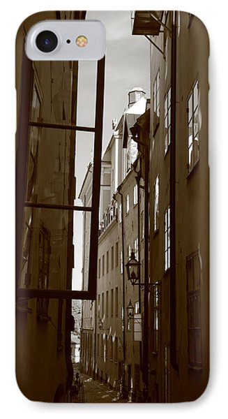 Open Window In Gamla Stan - Sepia IPhone Case