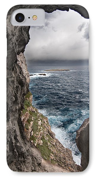 A Natural Window In Minorca North Coast Discover Us An Impressive View Of Sea And Sky - Open Window IPhone Case