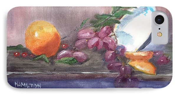Orange And Grapes Still Life IPhone Case by Larry Hamilton