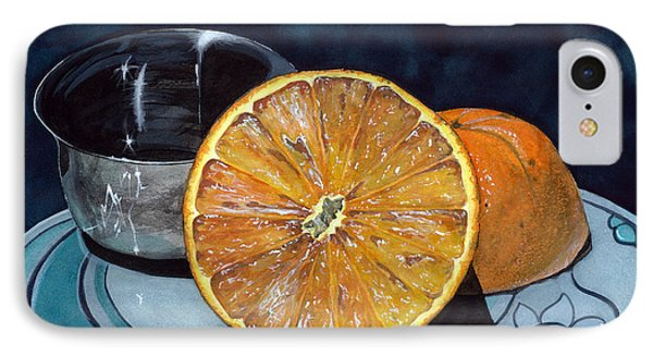 IPhone Case featuring the painting Orange And Silver by Barbara Jewell