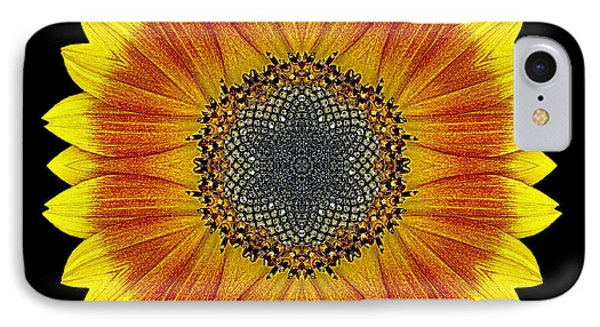 Orange And Yellow Sunflower Flower Mandala IPhone Case by David J Bookbinder