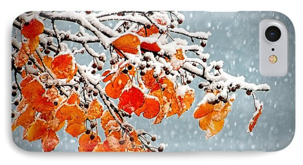 IPhone Case featuring the photograph Orange Autumn Leaves In Snow by Tracie Kaska