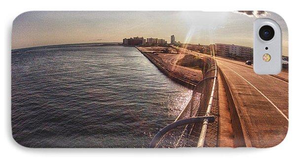 IPhone Case featuring the digital art Orange Beach From Perdido Bridge by Michael Thomas