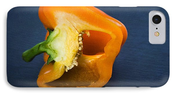 Orange Bell Pepper Blue Texture IPhone Case by Matthias Hauser